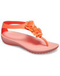 Women's Crocs Serena Embellish Flip Bright Coral/ Melon