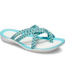 Women's Crocs Swiftwater Braided Web Flip Pool/White