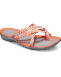 Women's Crocs Swiftwater Braided Web Flip Bright Coral / Light Grey